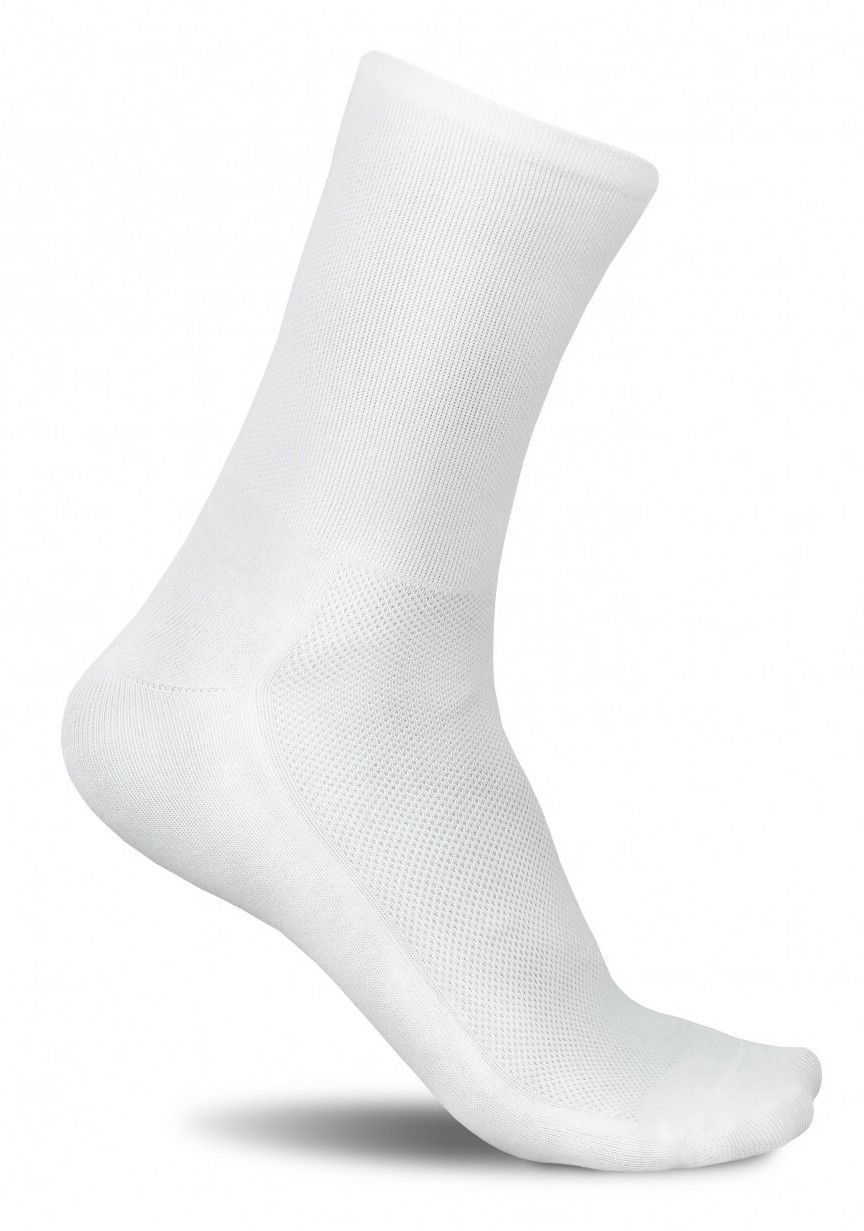 Profesjonalne skarpety kolarskie SECRET WHITE - nieskazitelna biel - GŁADKIE