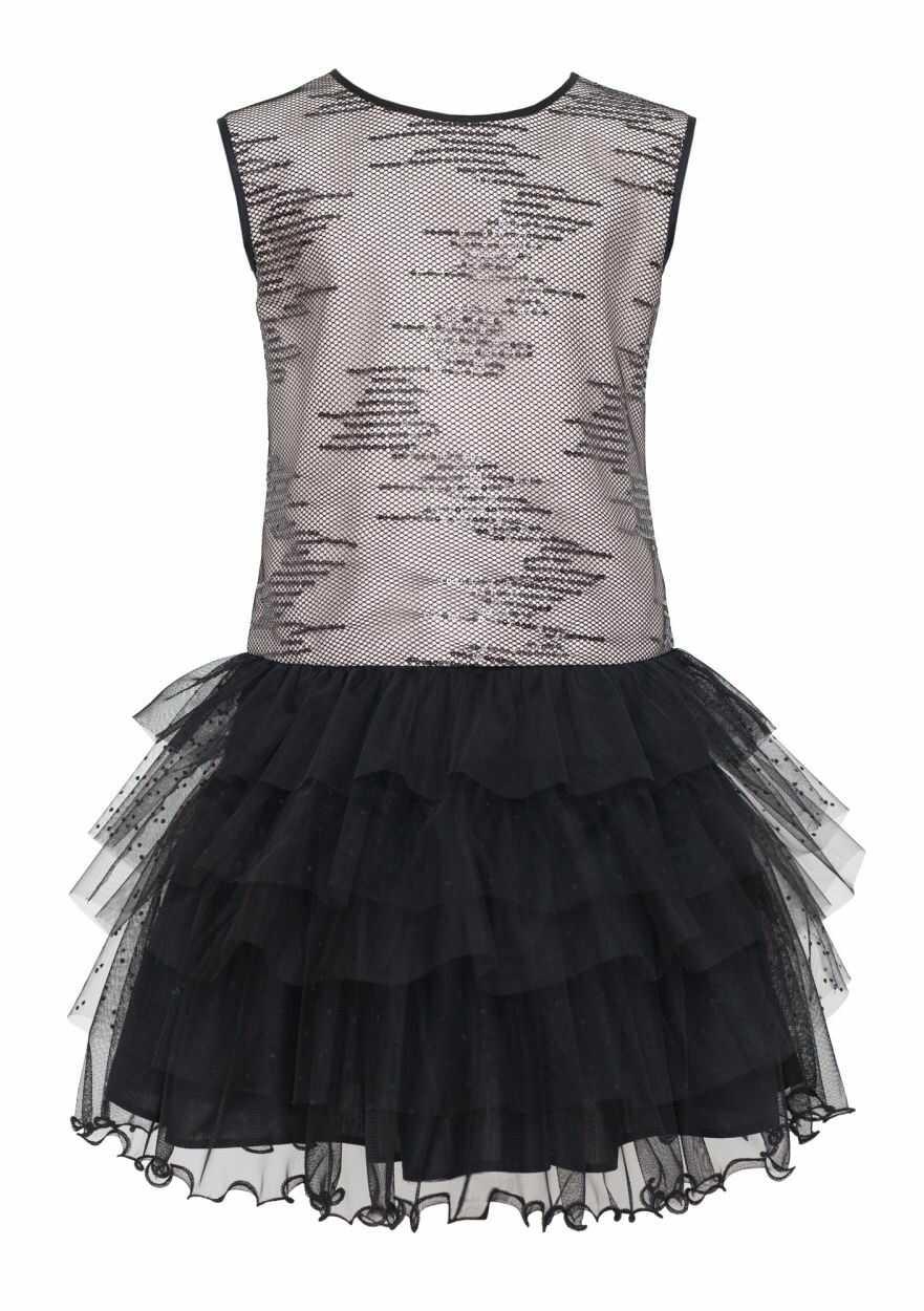 Wizytowa sukienka z cekinami 128-158 18/J/18 czarno-różowa