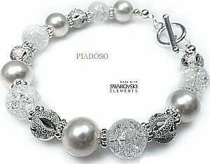 NOWE piękna bransoletka Swarovski Crystal White Srebro