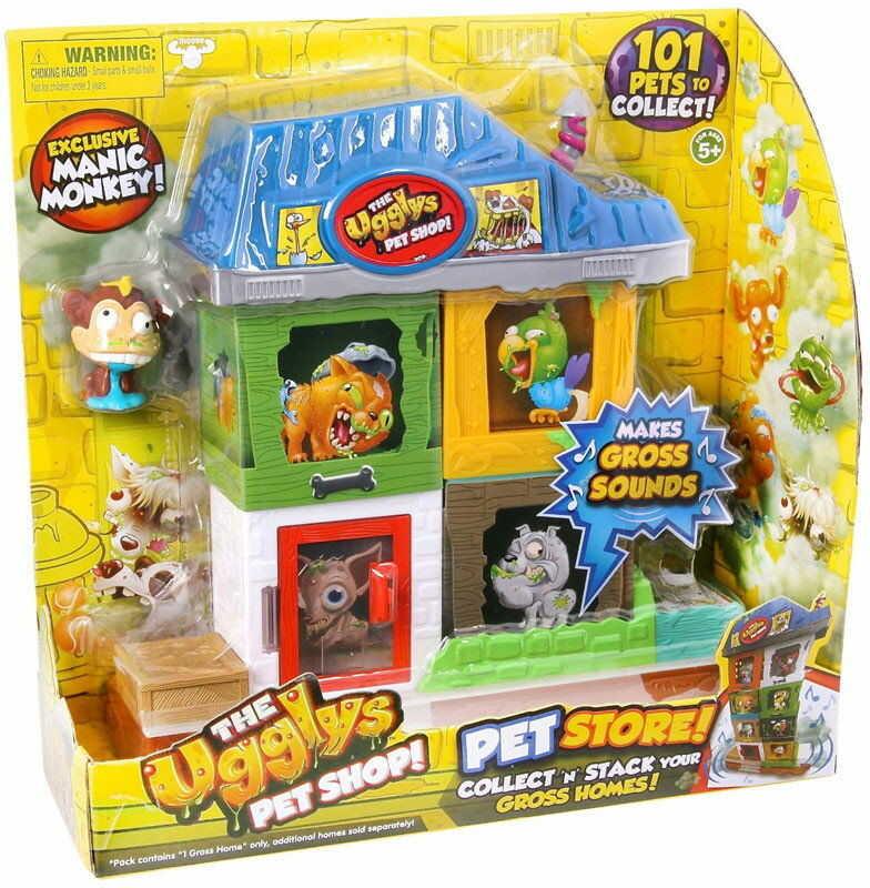 The Ugglys Pet Shop - Mini Paskudniak Manic Monkey z domkiem 19414