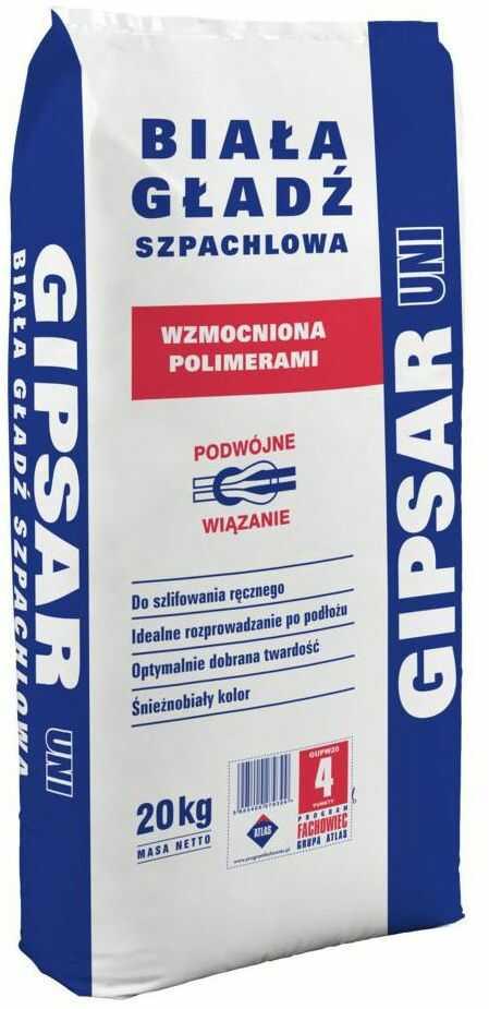 Gładź szpachlowa UNI 20 kg GIPSAR