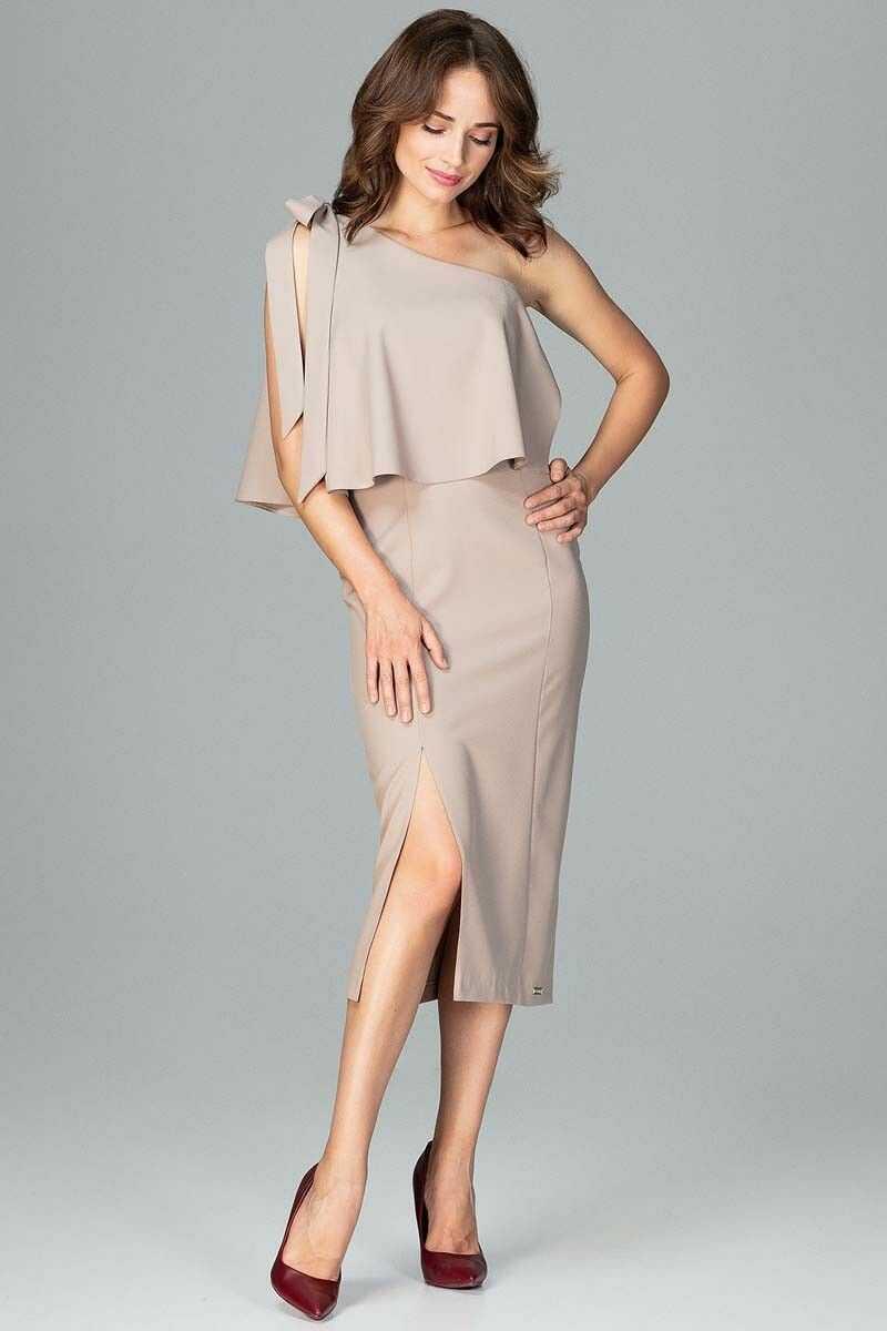 Beżowa koktajlowa dopasowana sukienka na jedno ramię