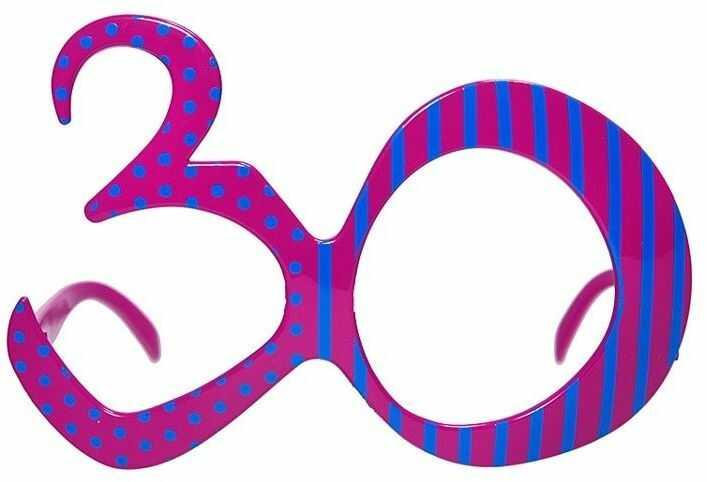 Urodzinowe Okulary 30, fuksja, OKR9-30