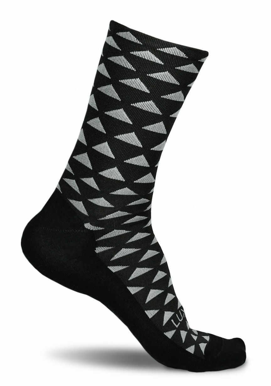 Profesjonalne skarpety kolarskie TRIANGLE JUNGLE - czarne w trójkąty
