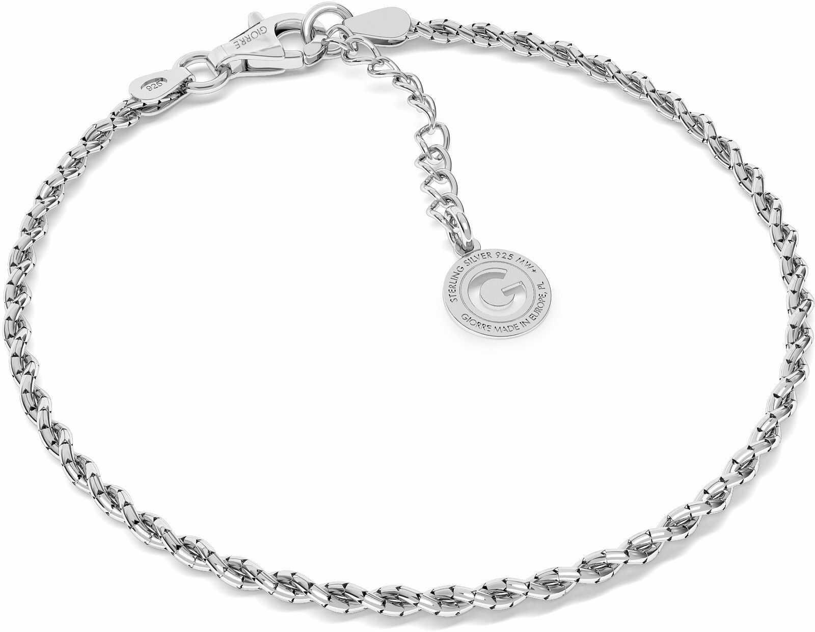 Srebrna bransoletka pleciona z 2 łańcuszków, srebro 925 : Srebro - kolor pokrycia - Pokrycie platyną