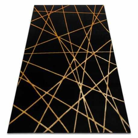 Dywan GLOSS nowoczesny 406C 86 stylowy, glamour, art deco, geometryczny czarny / złoty 140x190 cm