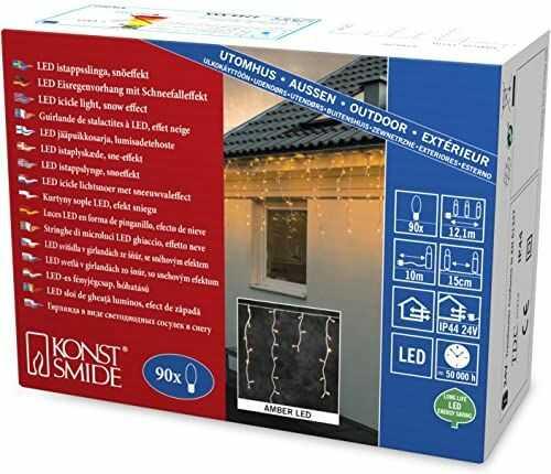 Konstsmide 2744-802 LED lodowy deszcz kurtyna świetlna / na zewnątrz (IP44) / 90 diod w kolorze bursztynowym / transformator zewnętrzny 24 V / biały kabel