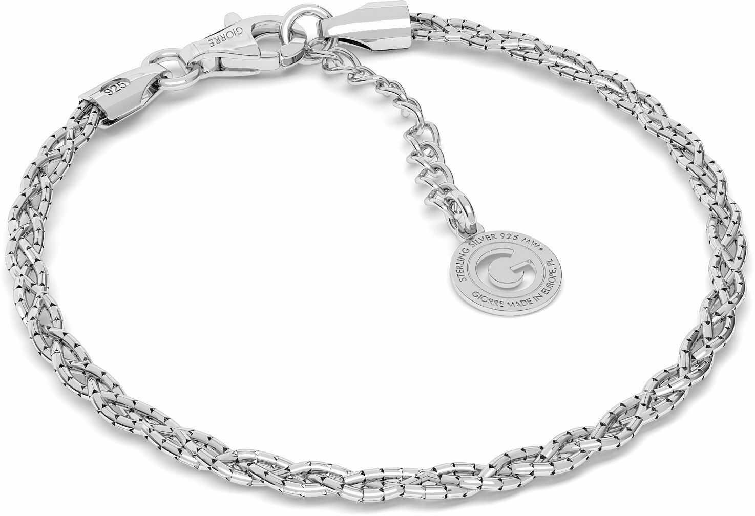Srebrna bransoletka warkocz pleciony z 3 łańcuszków, srebro 925 : Srebro - kolor pokrycia - Pokrycie platyną