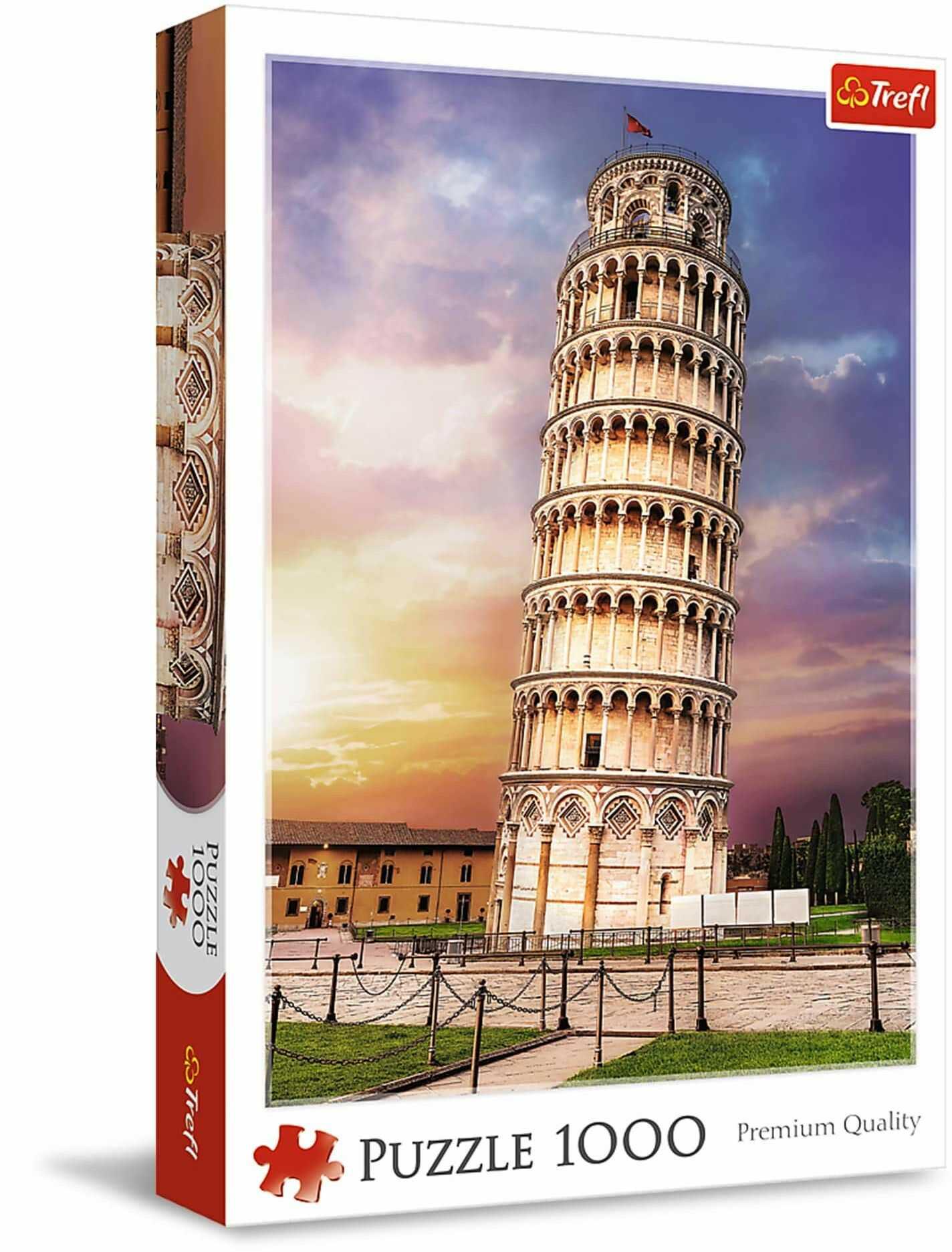 Trefl - Puzzle Wieża w Pizie - 1000 Elementów, Włochy, Widok na Dzwonnicę Katedralną, Symbol Pizy, Krzywa Wieża, Układanka DIY, Kreatywna Rozrywka, Prezent, Puzzle dla Dorosłych i Dzieci od 12 Lat