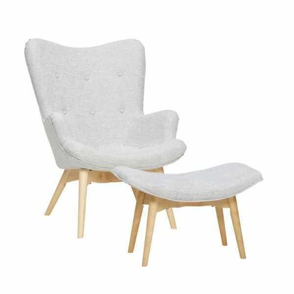 Hübsch RECLINER Fotel z Podnóżkiem - Jasnoszary