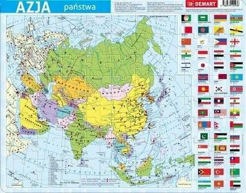 Puzzle ramkowe 72 Azja mapa polityczna