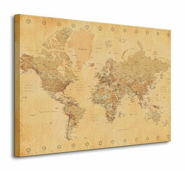 Obraz na ścianę - Mapa świata Vintage - 80x60 cm