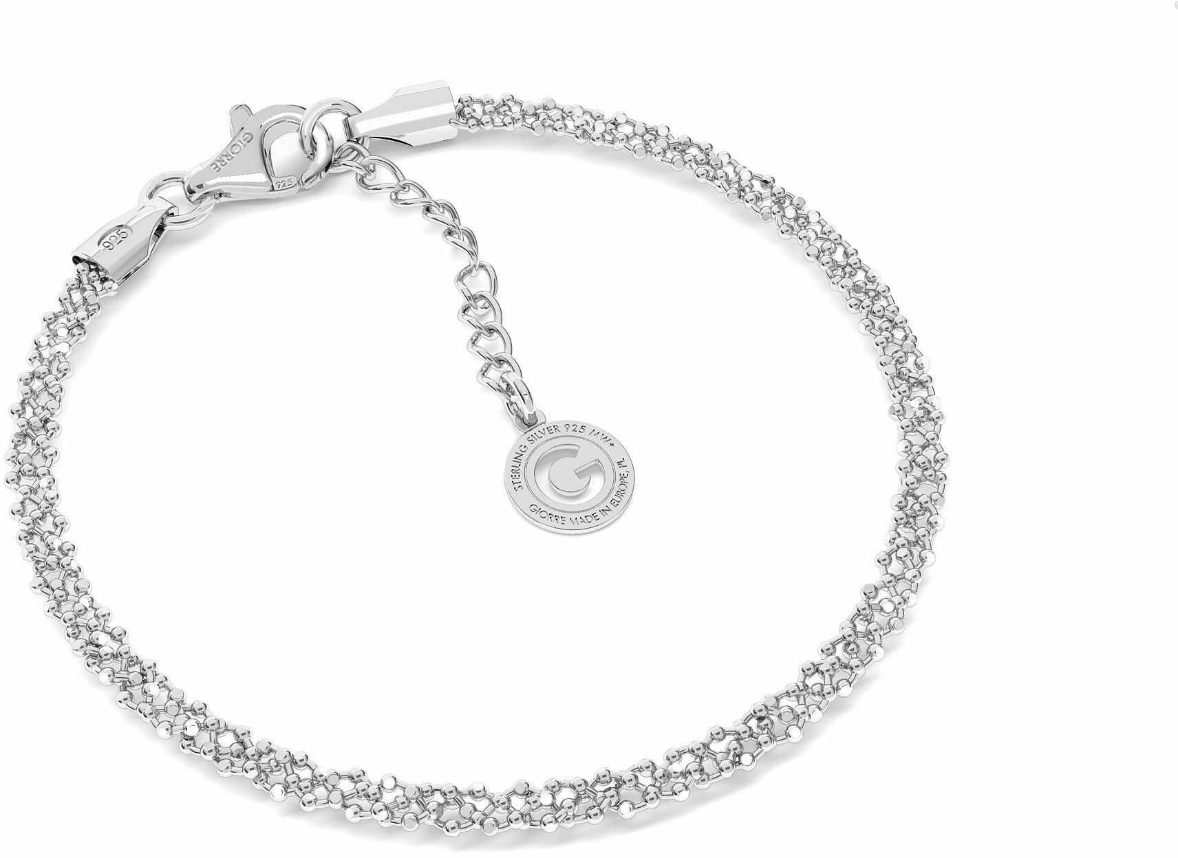 Srebrna bransoletka pleciona z 3 łańcuszków kulkowych, srebro 925 : Srebro - kolor pokrycia - Pokrycie platyną