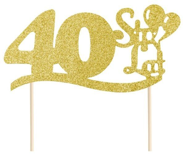 Topper na tort z napisem 40 Sto Lat złoty brokatowy 19cm 1 sztuka 512119
