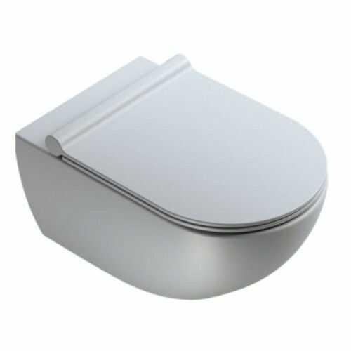 Wisząca miska WC 54x35 cm bez kołnierza z deską wolnoopadającą ,Cement satynowy Catalano COLORI
