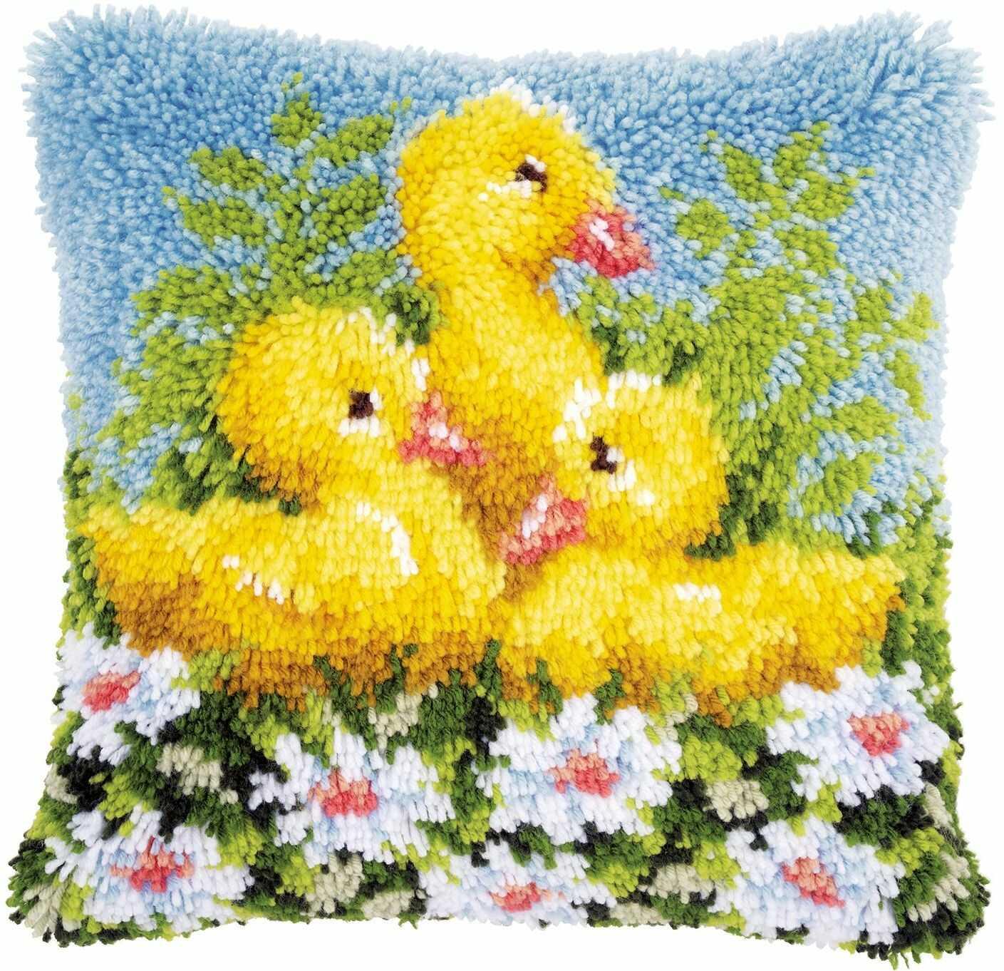 Vervaco Poduszka z haczykiem: Kaczki, bawełna poliestrowa, 40 x 22 x 20 cm