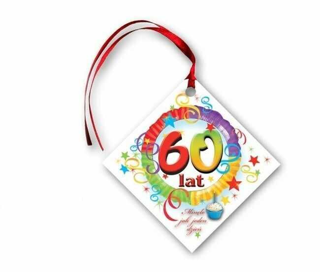 Zawieszki na butelki 60 urodziny 20 sztuk KW204