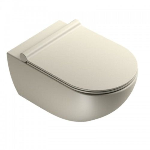 Wisząca miska WC 54x35 cm bez kołnierza z deską wolnoopadającą ,Satynowy szary Catalano COLORI