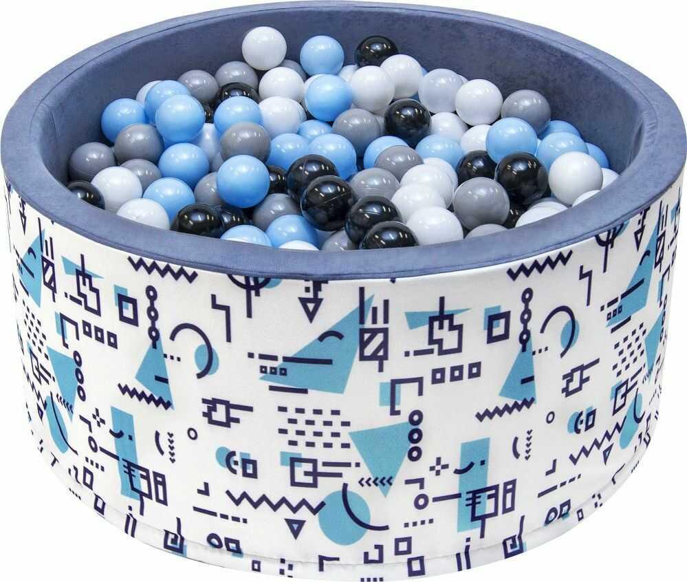 Suchy basen dla dzieci 90x40 z kulkami piłeczkami 7cm - Szare wzorki