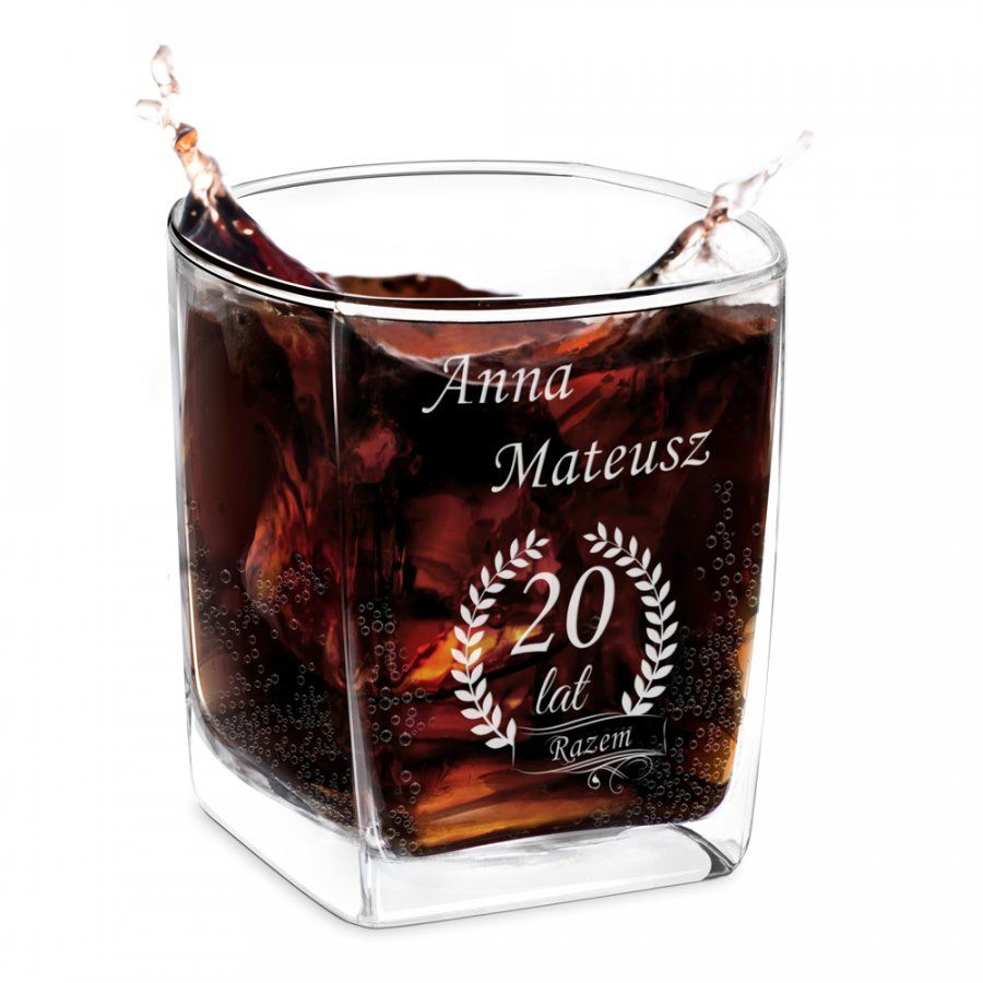 Szklanka do whisky z grawerem dla pary na 20 rocznicę