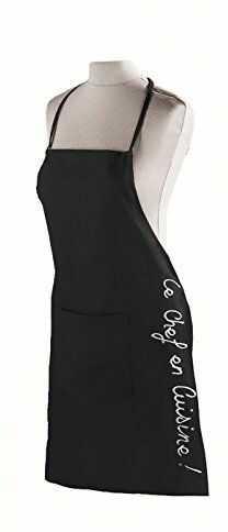 Ligne dekoracyjny fartuch 60 x 84 kieszonkowy bawełniany CUISTOT, czarny czarny