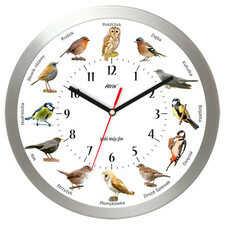 Zegar aluminiowy z głosami 12 ptaków #2B