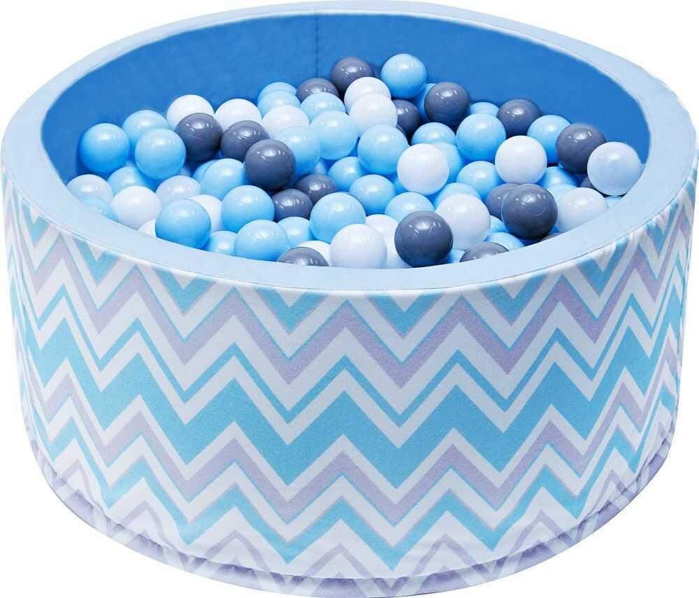 Suchy basen dla dzieci 90x40 z kulkami piłeczkami 7cm - Zygzak niebieski