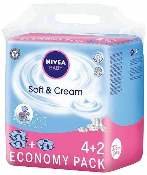 Nivea Baby Chusteczki Soft & Creme 6 x 63szt (4+2)