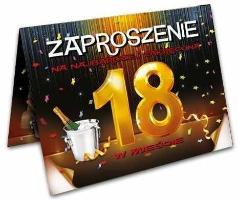 Zaproszenie na 18 urodziny osiemnastkę + koperta 1 sztuka ZX8600