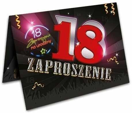 Zaproszenie na 18 urodziny z kopertą 1szt. ZX8800