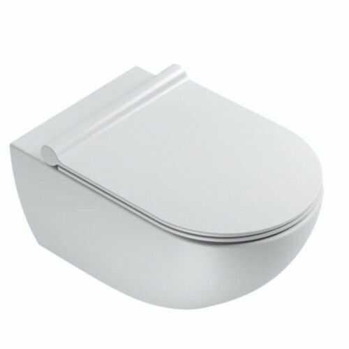 Wisząca miska WC 54x35 cm bez kołnierza z deską wolnoopadającą,Satyna biała Catalano COLORI