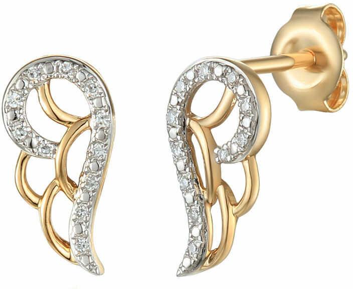 Złote kolczyki 585 skrzydło z brylantami diamenty