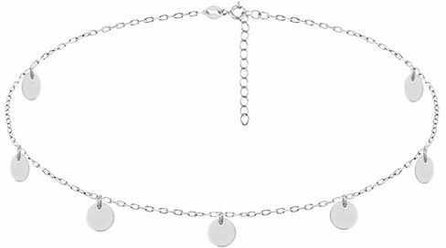 Rodowany srebrny naszyjnik gwiazd celebrytka choker kółeczka circle coin srebro 925 R0117N