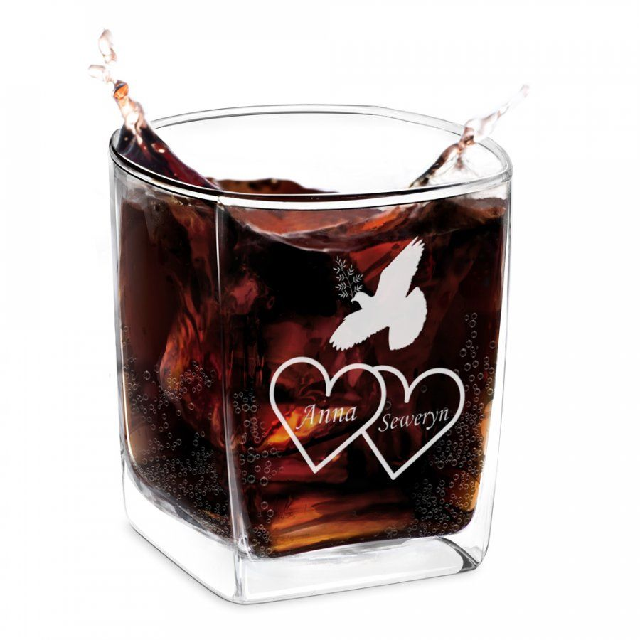 Szklanka do whisky z grawerem dla pary na ślub rocznicę