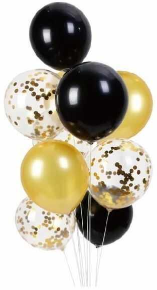 Balony czarne i złote mix z konfetti 30cm 10 sztuk 400865