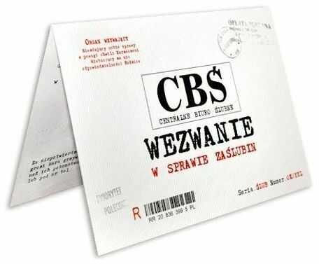 Zaproszenie ślubne CBŚ z kopertą zx9500