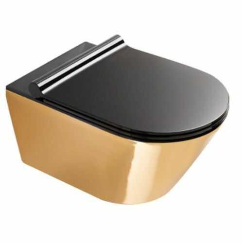 Miska WC 55x35 cm złoto/czarny bez kołnierza z deską wolnoopadającą, Catalano Gold&Silver