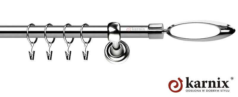 Karnisze Metalowe Rzymskie pojedynczy 19mm Mirella INOX