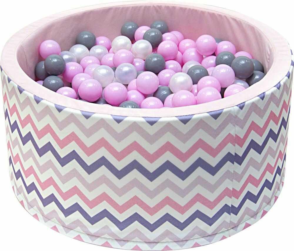 Suchy basen dla dzieci 90x40 z kulkami piłeczkami 7cm - Zygzak różowy