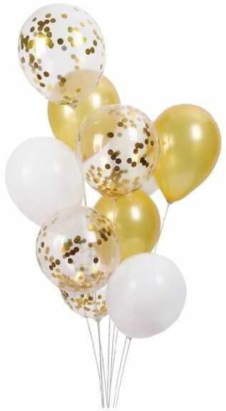 Balony białe i złote mix z konfetti 30cm 10 sztuk 400863