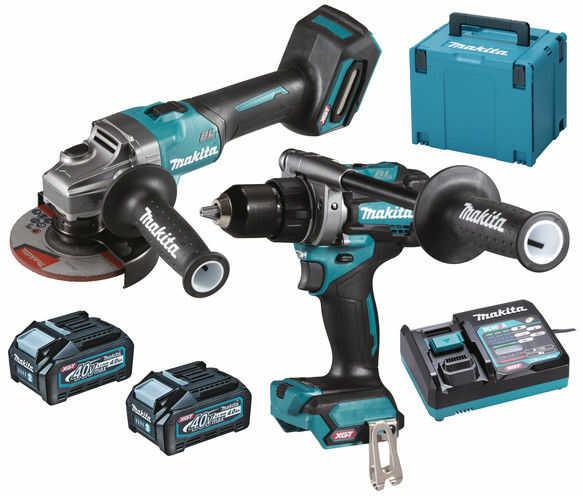 akumulatorowy zestaw Combo DF001G + GA005G, 40Vmax XGT, 2 x 4.0 Ah, walizka MAKPAC, Makita [DK0124G201]