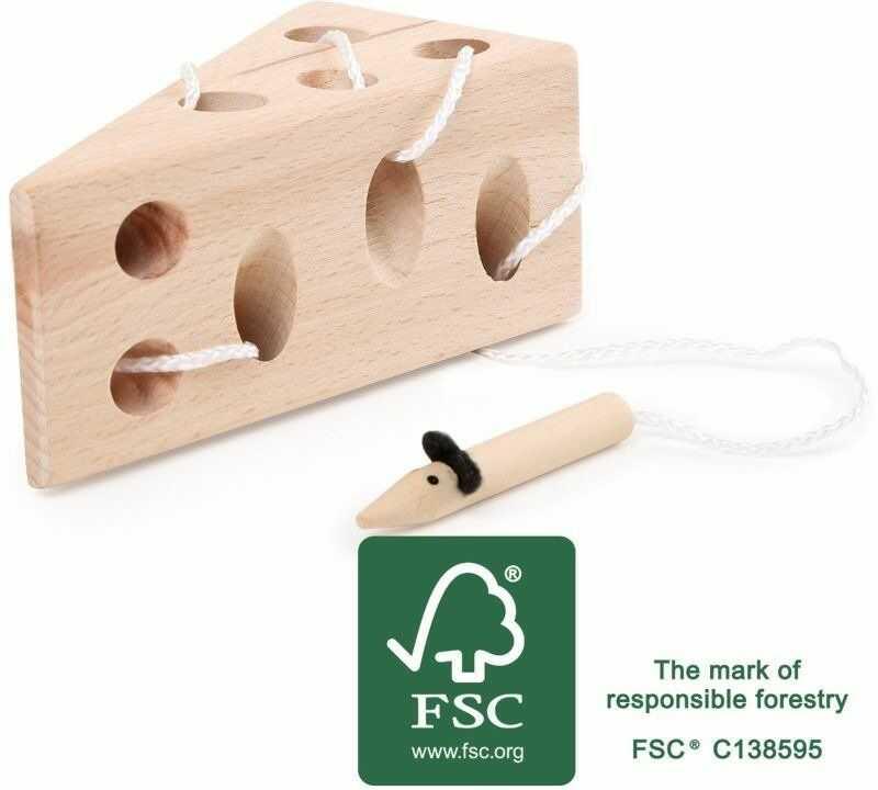 Sznurowanie, ser i mysz, 11053-small foot design, gry drewniane, zabawki zręcznościowe