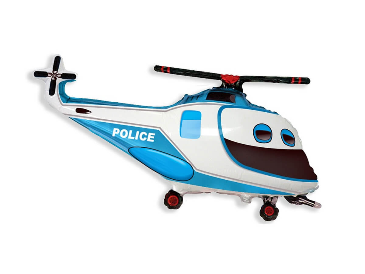 Balon foliowy Helikopter Policyjny - 61 cm - 1 szt.