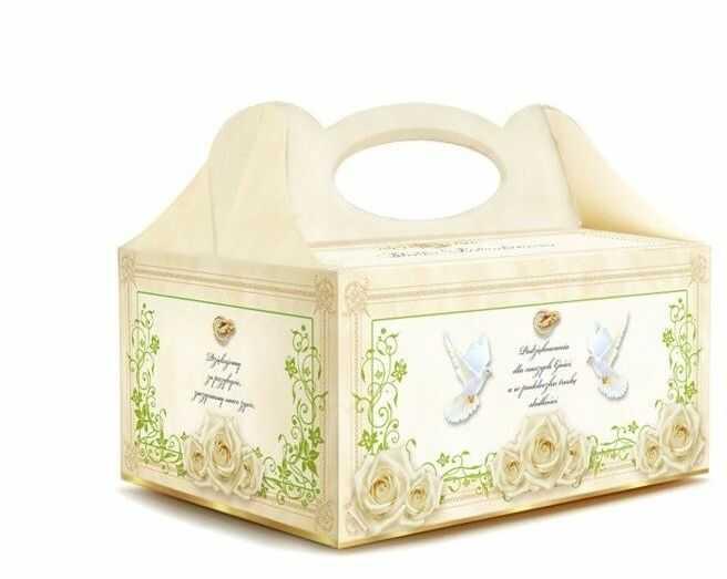 Pudełko na ciasto weselne Obrączki Gołąbki 1 sztuka PUDZI-1x
