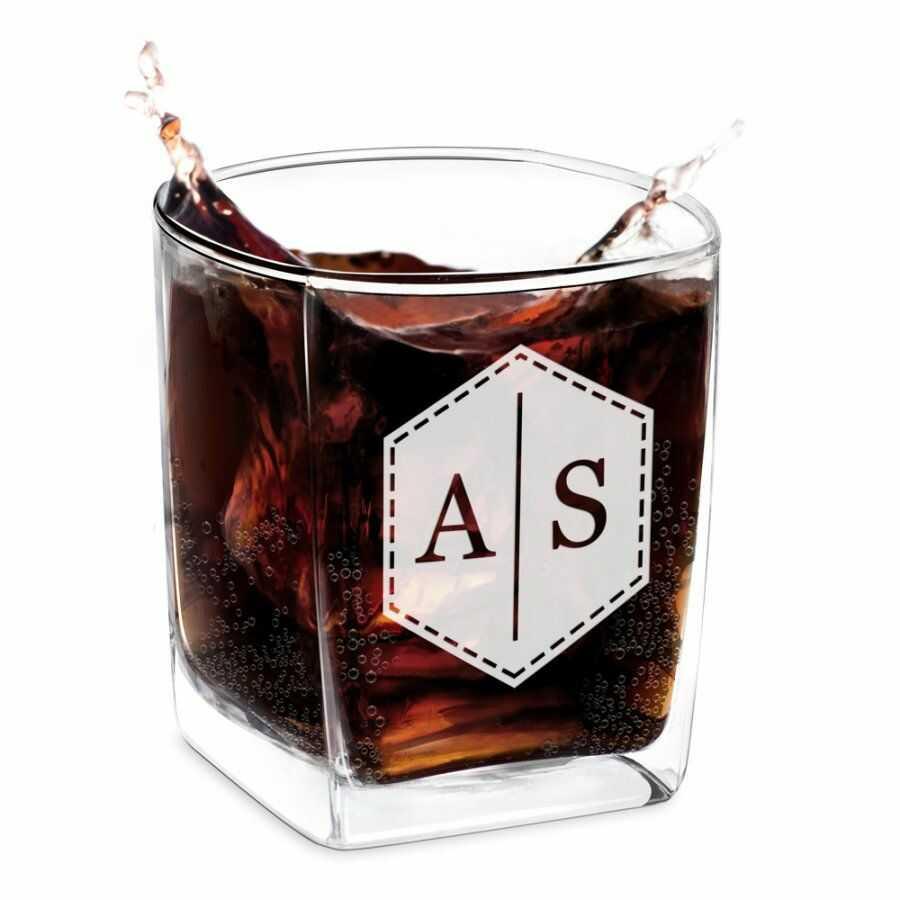 Szklanka do Whisky Grawer Inicjały Sześciokąt