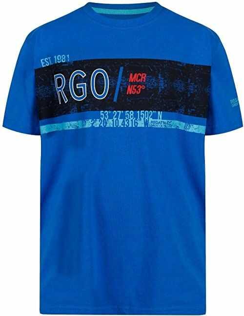 Regatta uniseks dzieci Bosley Ii Coolweave bawełna graficzny nadruk T-shirt Oxford Blue 5-6