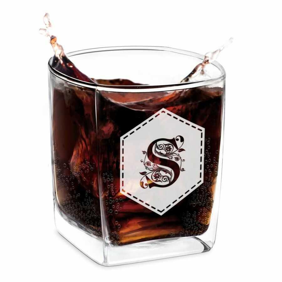 Szklanka do Whisky Grawer Inicjał Sześciokąt