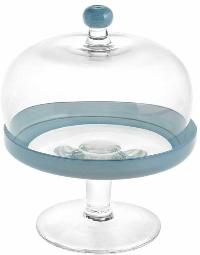 H&H etażerka z kopułą, szkło, przezroczysta/niebieska, 22 cm/Durhmess 18 cm