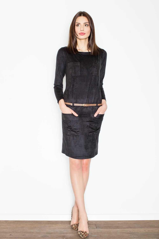 Czarna prosta midi sukienka z paskiem z eko-skóry
