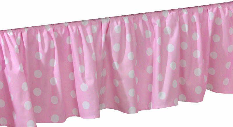 MAMO-TATO Falbanka do łóżeczka 70x140 Grochy różowe